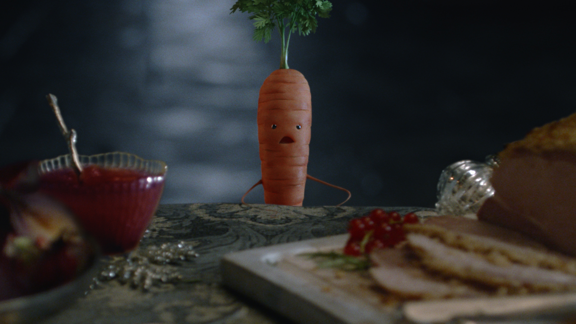 Undated handout stills issued by Aldi of their 2018 festive campaign, which stars Kevin the Carrot for a third year. PRESS ASSOCIATION Photo. Issue date: Thursday November 8, 2018. The full 60-second ad airs for the first time on Friday after a teaser tha