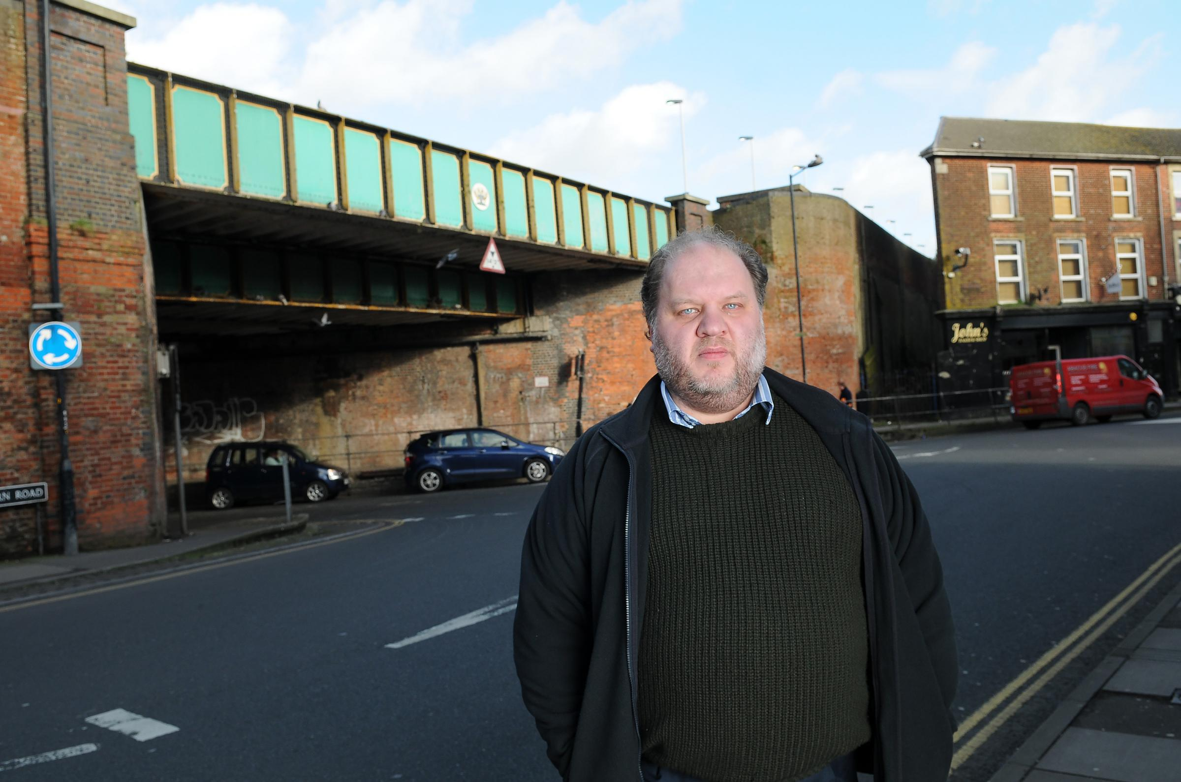 Cllr Matthew Dean at the Fisherton Street Bridge. DC7017P3..Picture by Tom Gregoy.