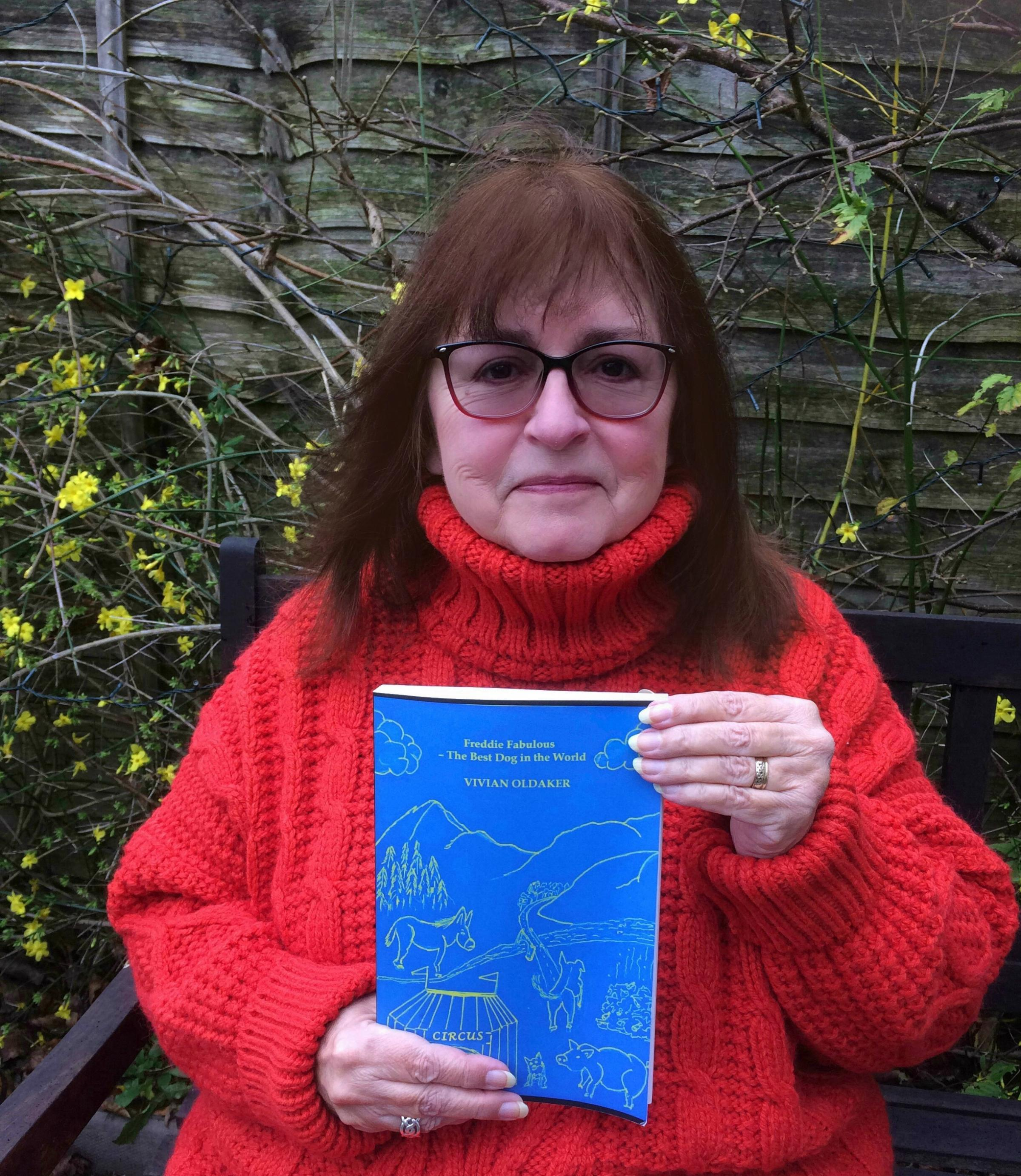 Tisbury writer Vivian Oldaker with her new book Freddie Fabulous – The Best Dog in the World