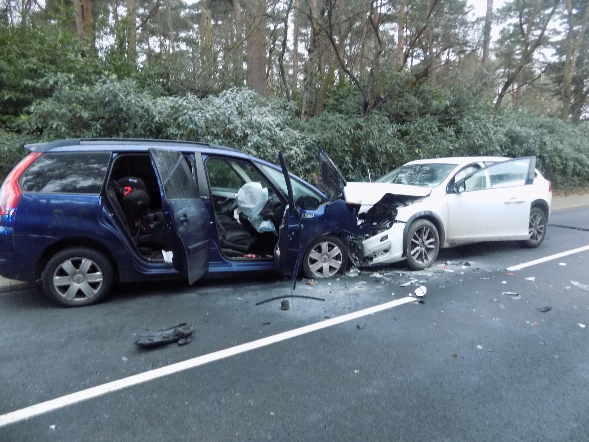 Two-vehicle crash on Horton Road, Ashley Heath
