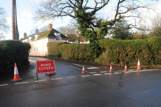 The road closure in place near the Woodford/Stoford junction on the A360