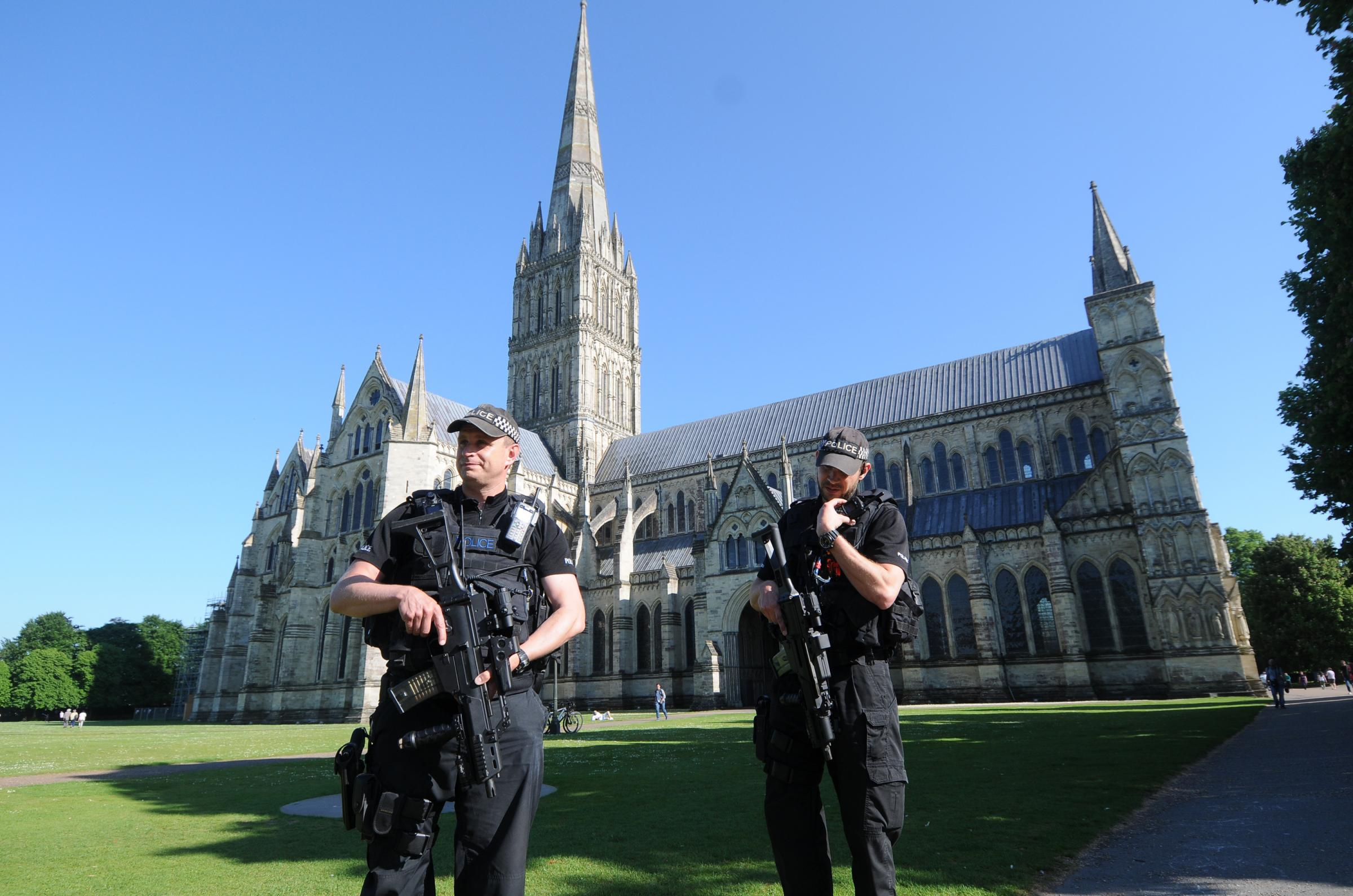 Armed police in Salisbury Cathedral Close. DC8174P8..Picture by Tom Gregory.