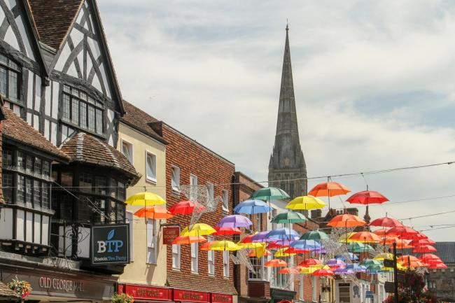 Salisbury High Street Umbrella Display. Picture: Simon Ward