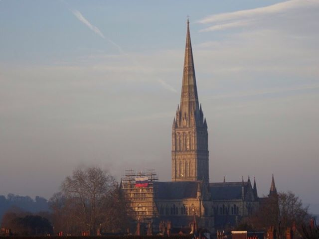 A Russian flag is hung from Salisbury Cathedral Pictures from Carol Byrne
