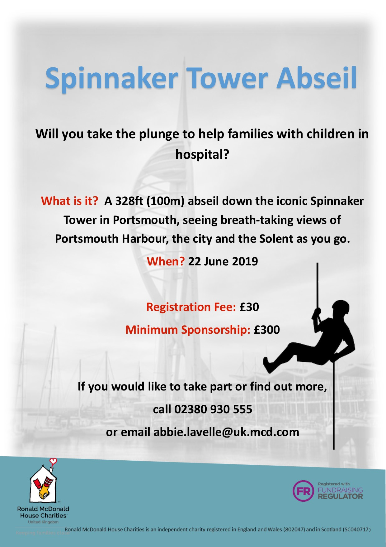 Spinnaker Tower Abseil for Ronald McDonald House Charities