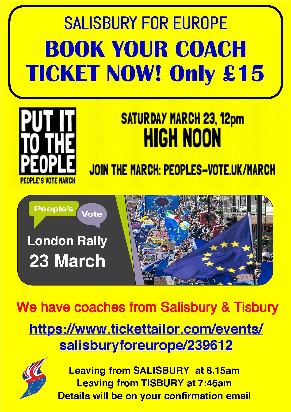Coach travel with Salisbury for Europe to PEOPLE'S VOTE MARCH ON 23rd MARCH