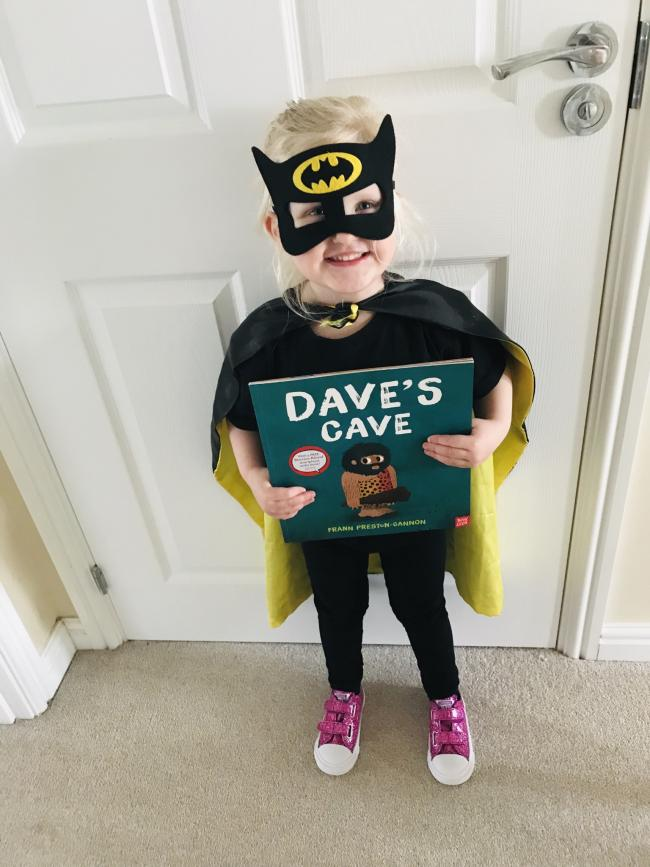 Isabella (3) decided to change her costume last minute and declared that she is not batgirl, she is Batman. Dave's cave is her favourite book and we read it together in a deep caveman voice :-)