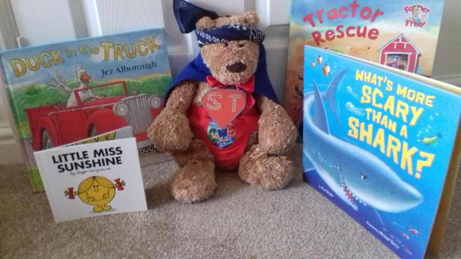 Teddy from Just Juju  is visiting pre school establishments this week dressed as a super hero!!!!!!!