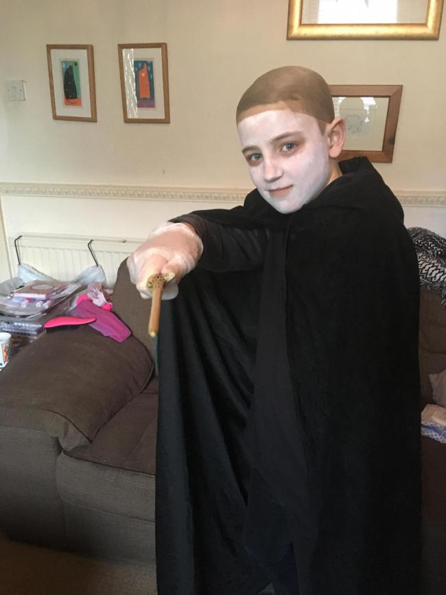 Sam age 11 as Lord Voldemort from Harry Potter!