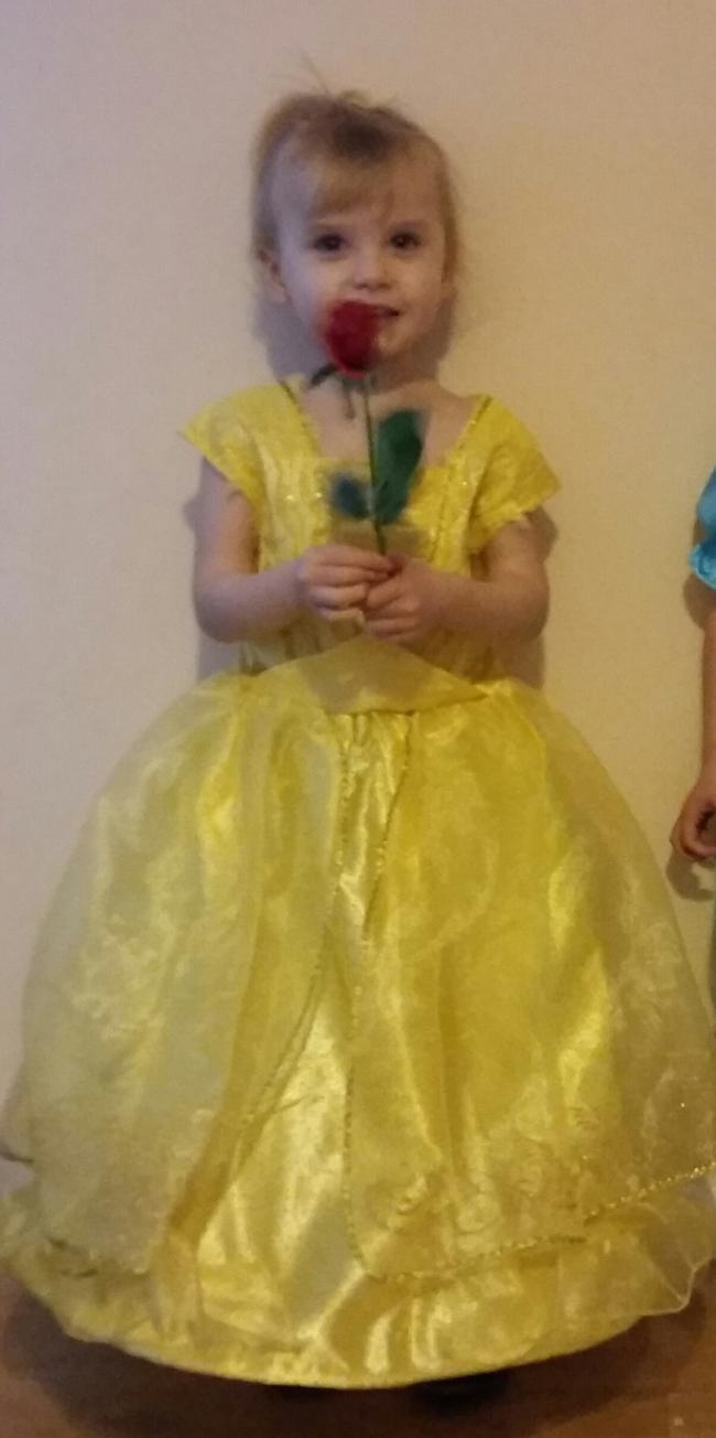 Peyton topham age 3 dressed as belle.