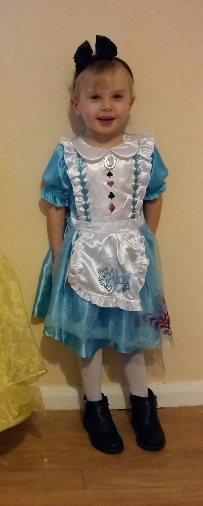 Lily topham age 3 dressed as alice