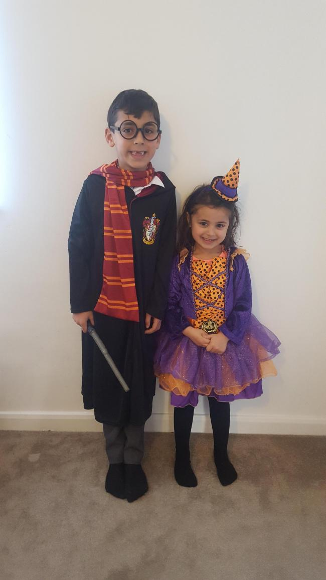 Kian 7 years as Harry Potter  Zara 3 years The witches
