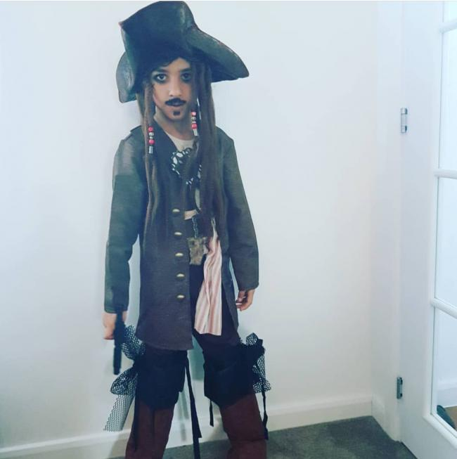 Kian aged 7 years dressed as Jack Sparrow from Pirates of the Caribbean book series