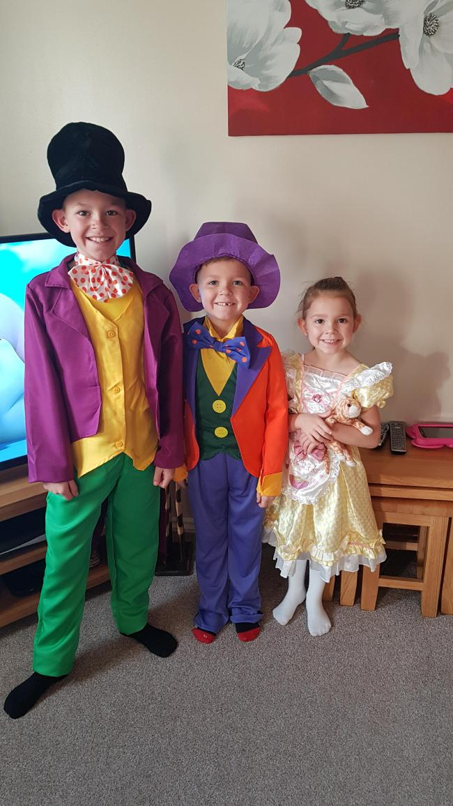 Charlie, Age 10 - Willy Wonka  Jack, Age 7 - Mad Hatter Holly, Age 5 - Goldilocks