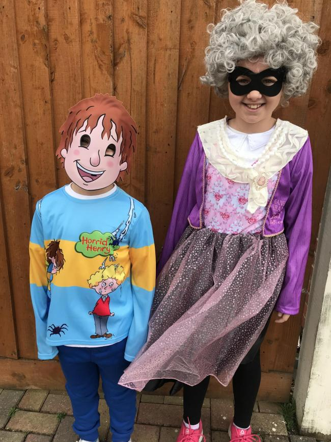 Sienna aged 8 as Gangsta Granny and Oscar aged 5 as Horrid Henry