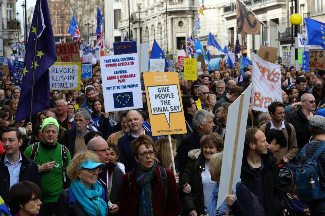 Anti-Brexit campaigners take part in the People's Vote March in London. PRESS ASSOCIATION Photo. Picture date: Saturday March 23, 2019. See PA story POLITICS Brexit March. Photo credit should read: Aaron Chown/PA Wire.