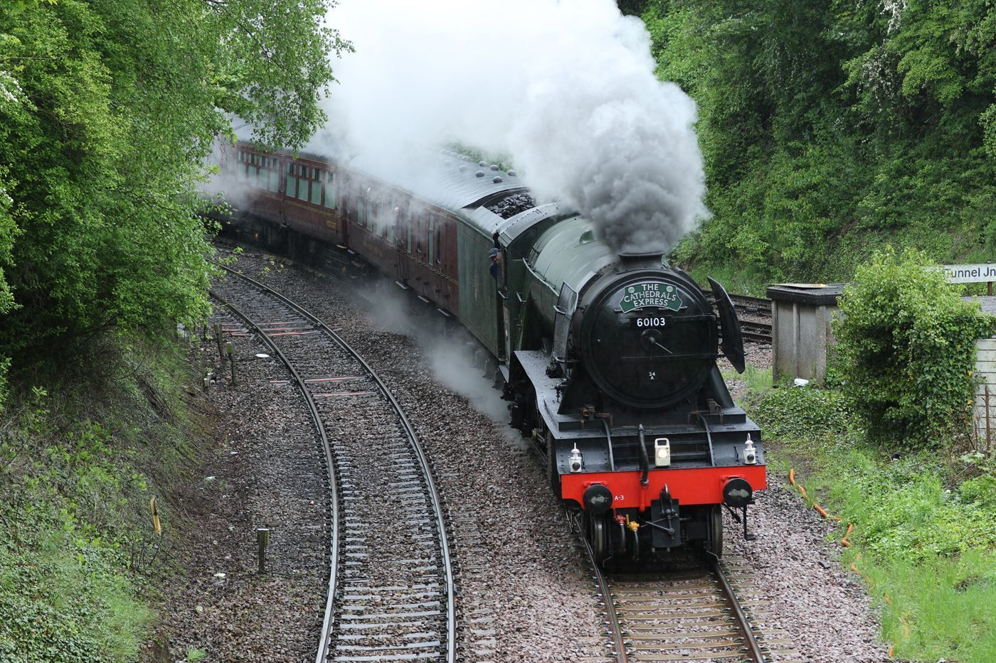 The Flying Scotsman powers through the Wiltshire countryside.