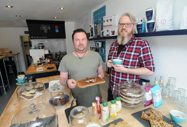 Luke Haines and James Pearce..The Coffee Lab re-opens in Salisbury DC9083P1 Picture by Tom Gregory.