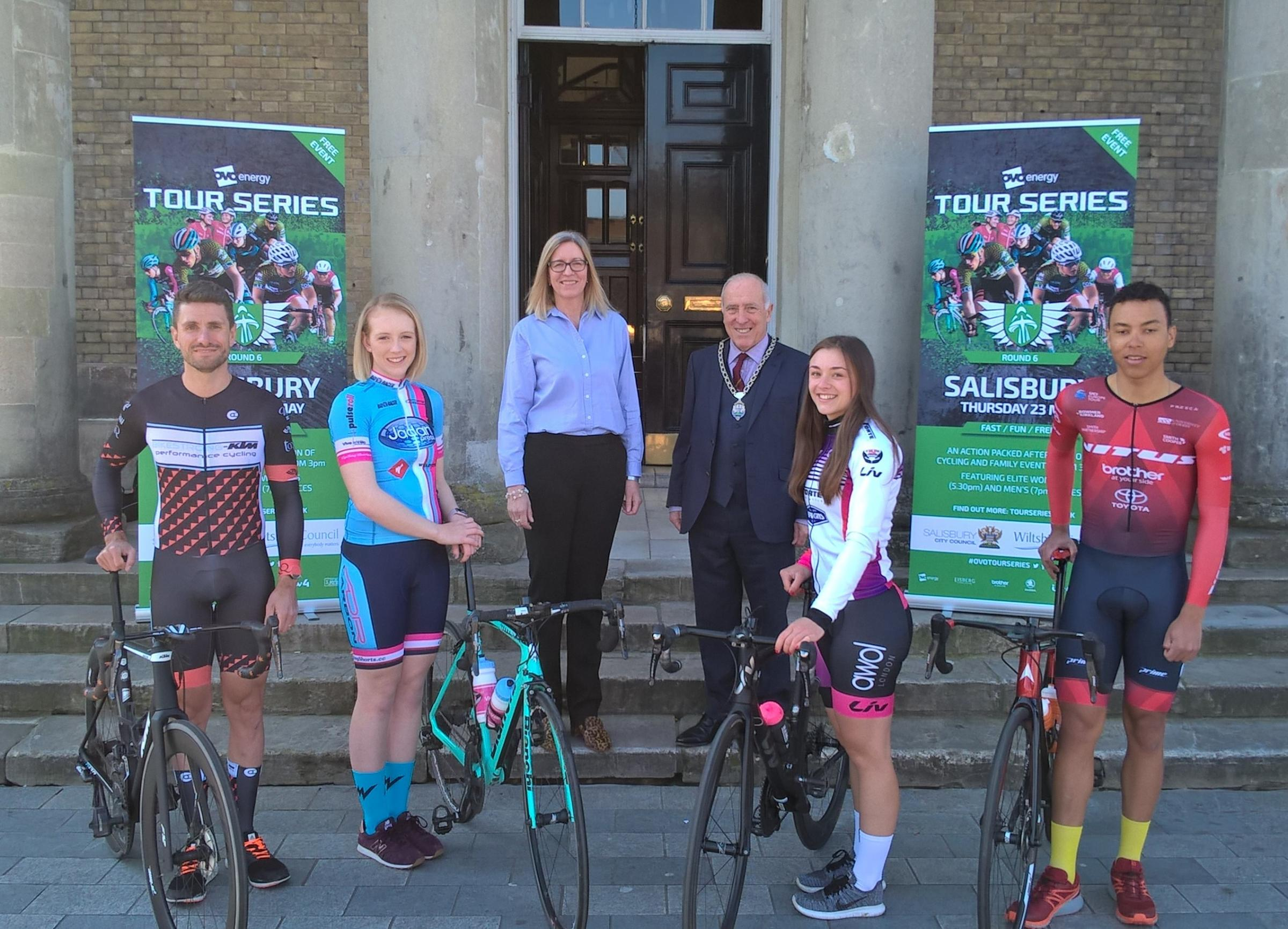 Tom Grigson, Bikestrong KTM; Amy King, Jadan-Weldtite Vive Le Velo; Pauline Church, Wiltshire Council cabinet member for South Wiltshire recovery; Cllr John Walsh, deputy mayor of Salisbury; Victoria Lovett, Liv AWOL SPOK'D; Red Walters, Vitus Pro C