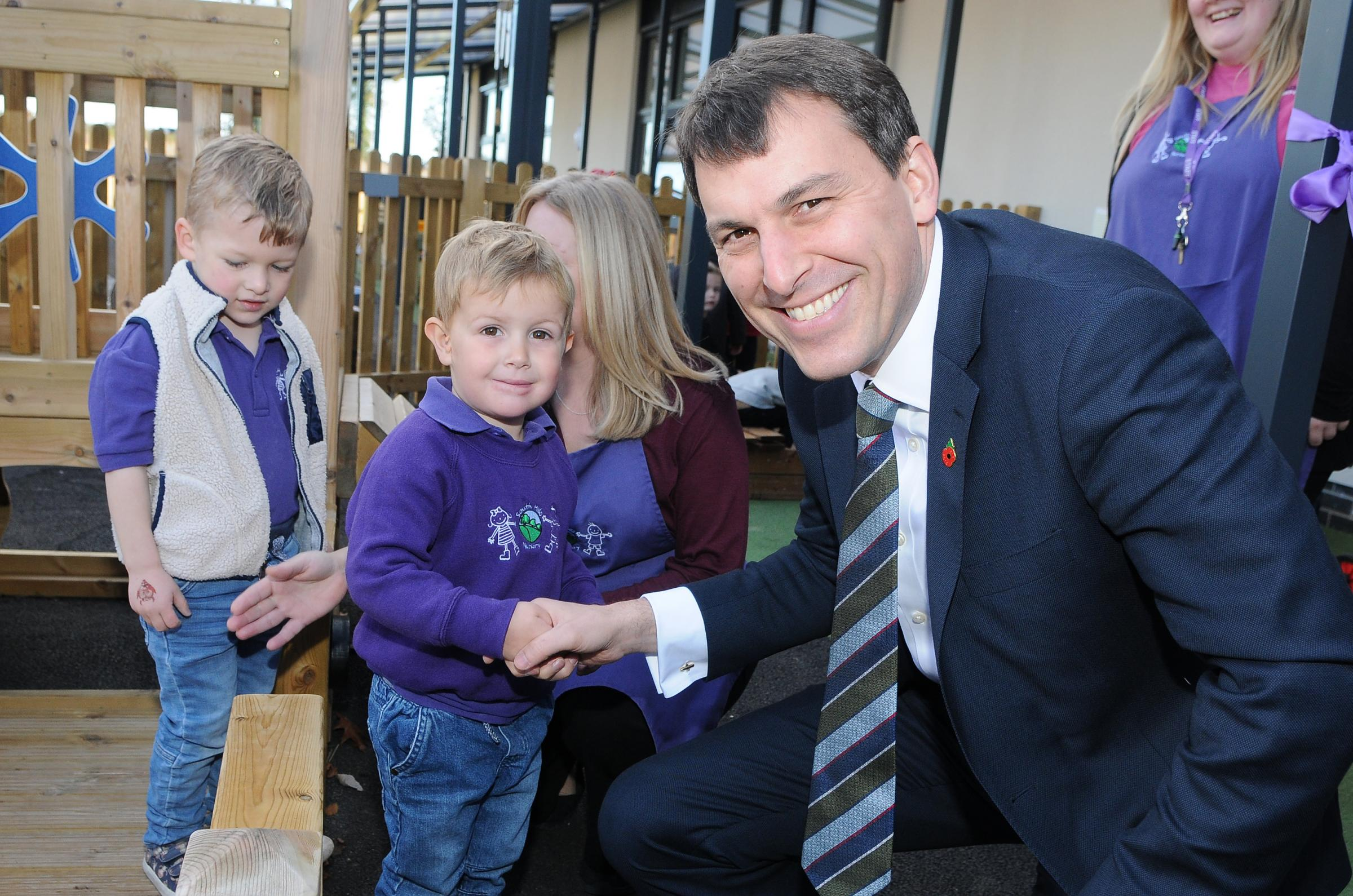MP John Glen opens the new South Hills St Peter's Nursery at St Peter's Primary School, Salisbury DC8863P8 Picture by Tom Gregory.
