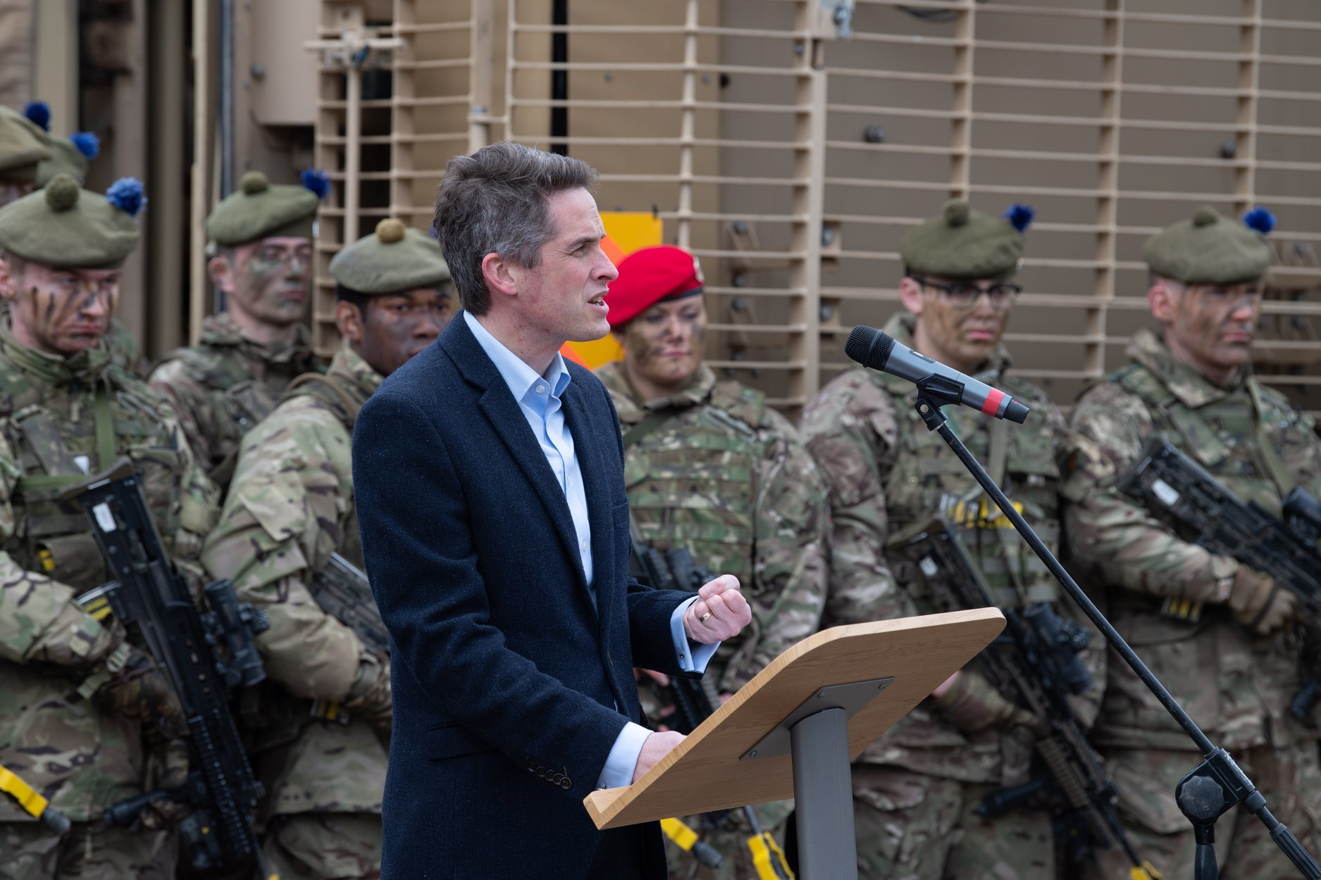 Defence Secretary Gavin Williamson makes the announcement after watching troops exercise at Copehill Down
