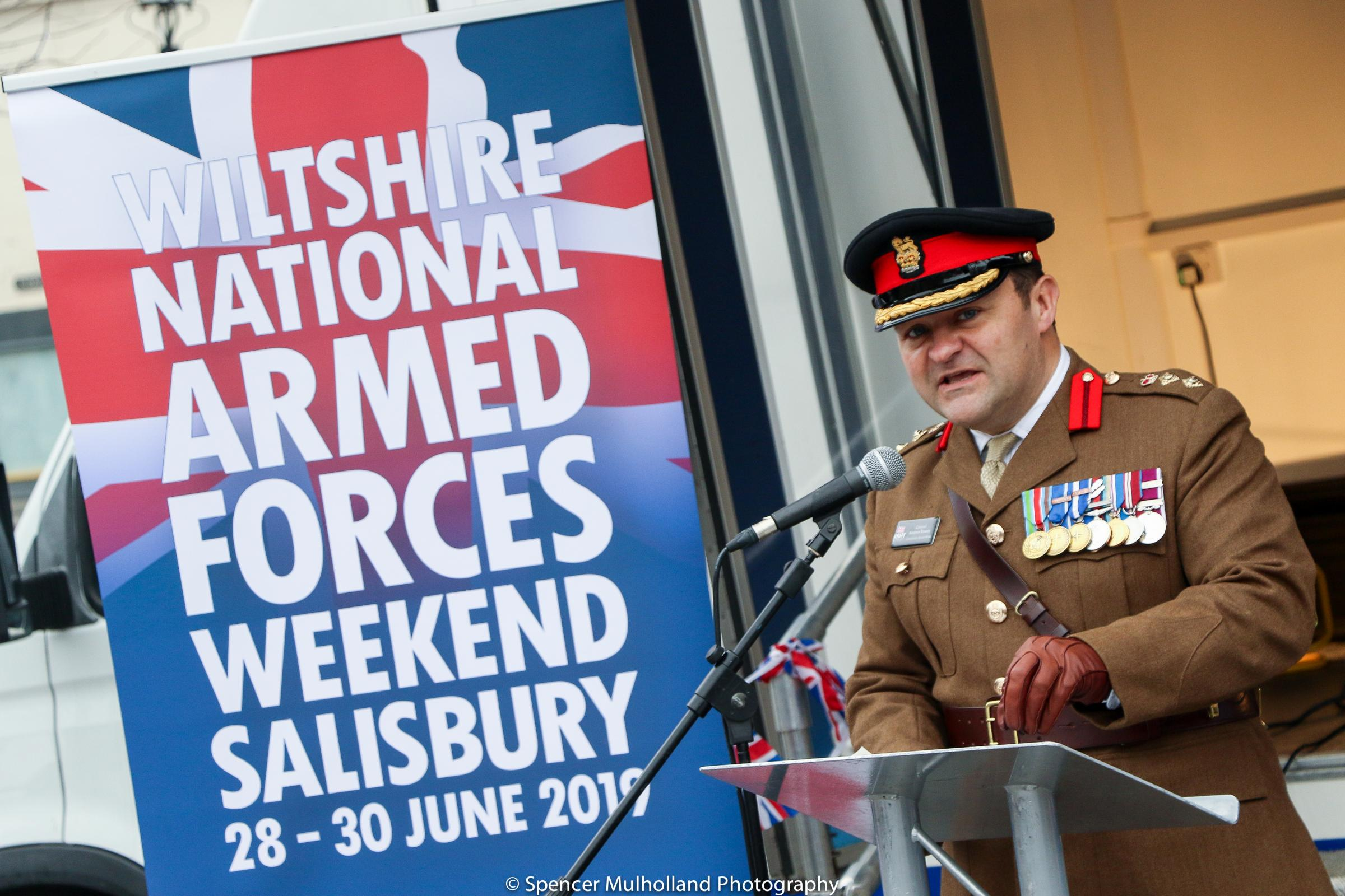 Colonel Andrew Dawes at the Armed Forces Day Launch in Salisbury.