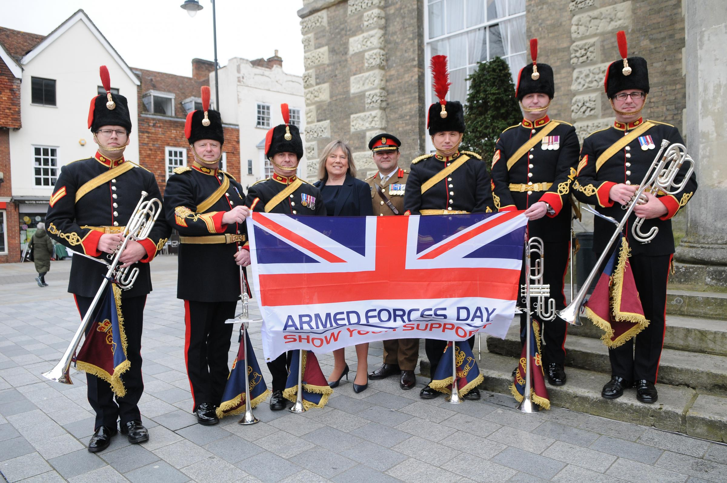 Leader of Wiltshire Council Jane Scott and Colonel Andrew Dawes Commander South West with Members of the Royal Artillery Band..100 day countdown to Armed Forces Day 2019 to be held in Salisbury DC9046P31 Picture by Tom Gregory.