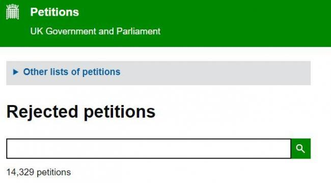 Rejected petitions on the government website