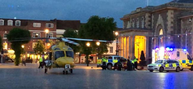 The air ambulance at the scene.