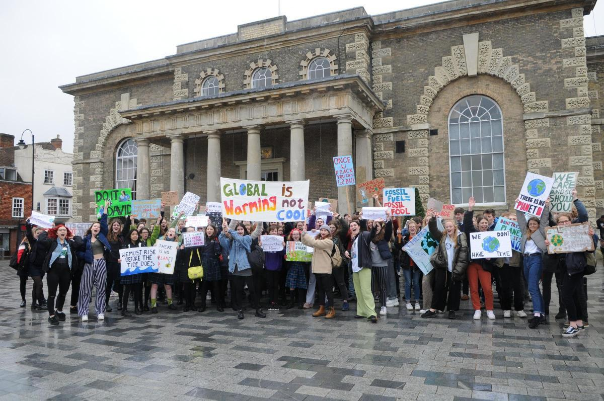 Extinction Rebellion support youth climate change strike in Salisbury